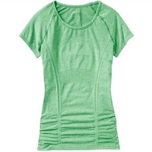 ATHLETA Fastest Track Ruched Short Sleeve Top